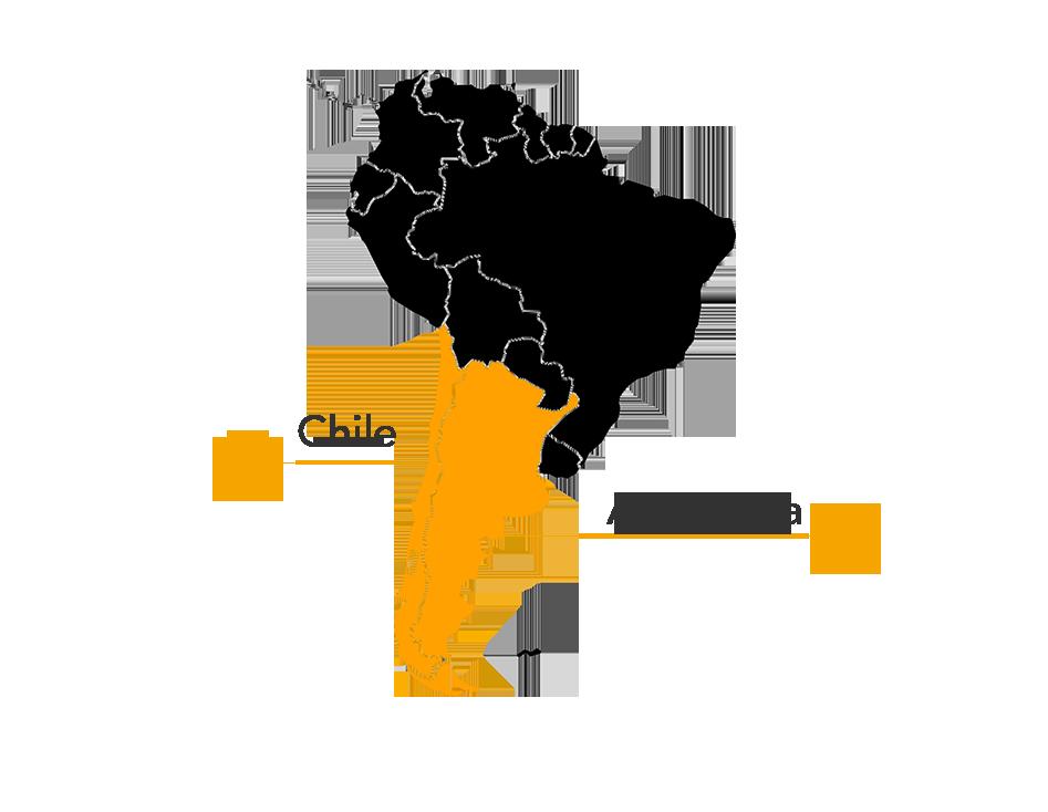 Darwin's or Lesser Rhea map
